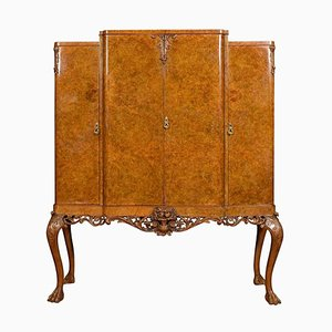 Large Burr Walnut Breakfront Cocktail Cabinet, 1920s