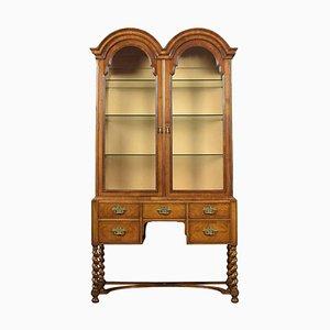 Queen Anne Style Walnut Display Cabinet, 1920s