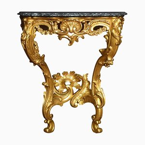 Antique Rococo Revival Giltwood and Marble Console Table