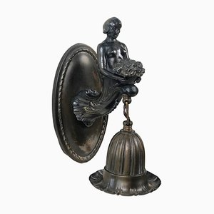 Austrian Jugendstil Bronze Wall Sconce with Torso of a Woman Holding a Bouquet