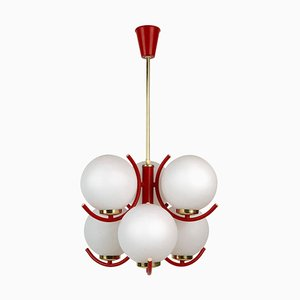 Pendant Lamp in Coral Color with 6 Mat Opaline Globes, 1970s