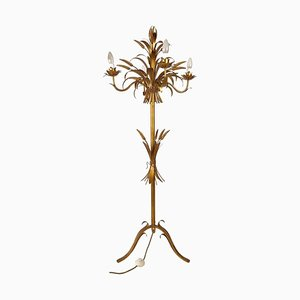 Italian Gilt Metal Candelabra Floor Lamp with Sheaf of Wheat Motif, 1963