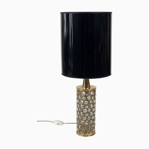 Mid-Century Patinated Brass and Glass Table Lamp from Rupert Nikoll, 1960s