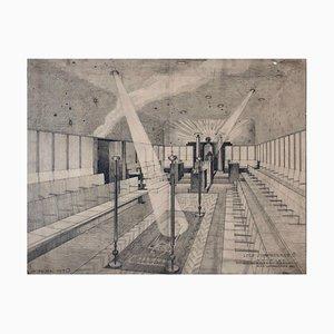 Freimaurer Lodge Schwindgasse Arbeitszeichnungen von Architekten, Wien, 1930, 4er Set