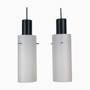Cylindrical Hanging Pendant Lamps from West, Austria, 1970s, Set of 2