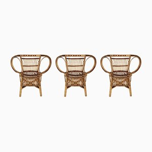 Wicker Chairs & Coffee Table, 1960s, Set of 3