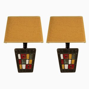 Hungarian Modernist Studio Ceramic Movement Wall Lights, 1950s, Set of 2