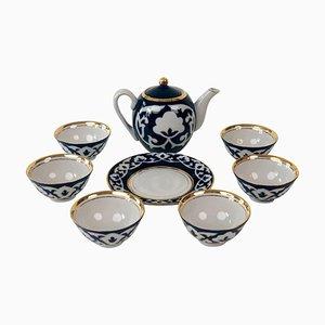 Central Asian Hand-Painted Porcelain Tea Set in Cobalt Blue & Gold, 1960s, Set of 8