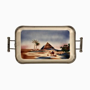 Ceramic Tray with Metal Montage and Egyptian Motiv, 1920s