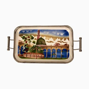 Ceramic Tray with Metal Montage and Oriental Motive, 1920s