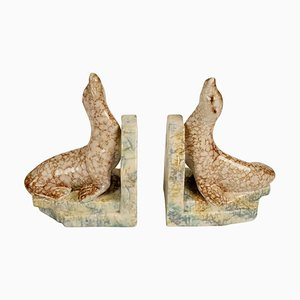 Cabana Style Ceramic Bookends with Seals, 1930s, Set of 2