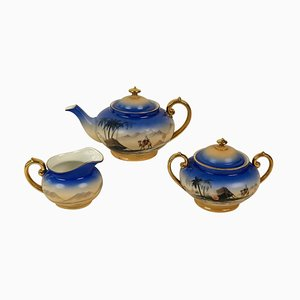 Cabana Style Porcelain Model Sahara Tea Set from Royal Epiag, 1920s, Set of 24