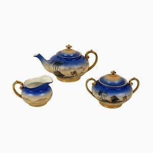 Juego de té Sahara modelo Cabana de porcelana de Royal Epiag, años 20. Juego de 24