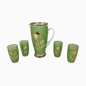 Mid-Century Lemonade Set in Jade Green Glass, 1950s, Set of 5