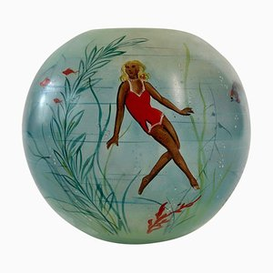 Cabana Style Glass Vase with Hand-Painted Swimming Girls and Corals, 1950s