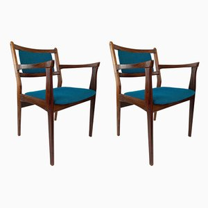 Rosewood Chairs with Turquoise Fabric, 1960s, Set of 2