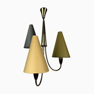 Small Mid-Century Chandelier in Brass with 3 Colorful Shades from Rupert Nikoll, 1950s