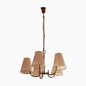 Hollywood Regency Style Brass Chandelier with 5 Arms and Silk Shades from Rupert Nikoll, 1950s