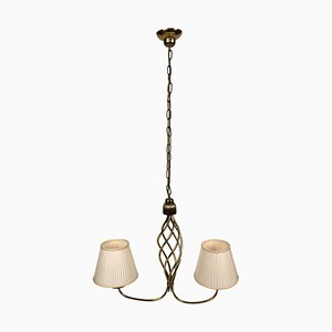 Hollywood Regency Style Brass Chandelier with 2 Shades, 1930s
