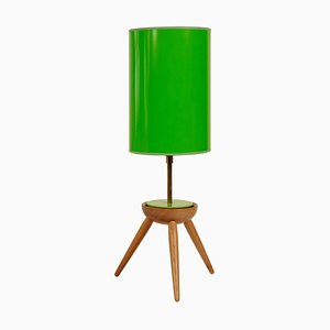 Mid-Century Table Lamp with Wooden Base from Krasna JIzba, 1950s