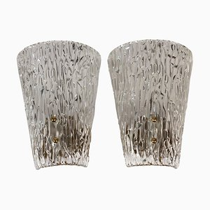 Mid-Century Textured Glass and Brass Wall Lights from J.T. Kalmar, 1950s, Set of 2