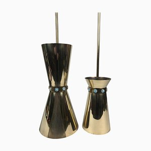 Brass Cafe Europa Pendant Lamps by Carl Appel, Vienna, 1950s, Set of 2