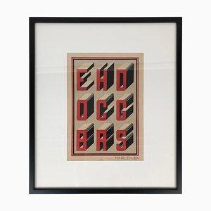 Bauhaus Stil Typografie Gouache Studien, 1920er, 2er Set