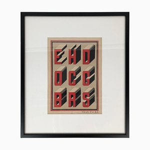Bauhaus Style Typography Gouache Studies, 1920s, Set of 2