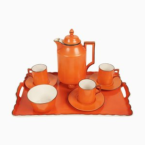 Coral Mocha Set in the Style of Dorothy Draper from Carlsbad, 1930s, Set of 9