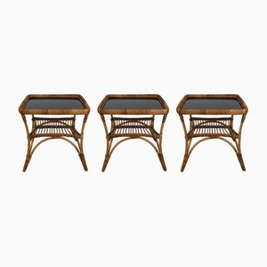 Mid-Century Italian Bamboo Garden Coffee Table & Chairs, 1960s, Set of 3