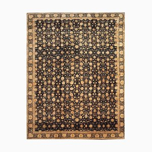 Tabriz Rug in Black and Gold Natural Silk by Boccara, 1980s