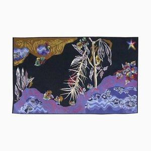 Woven Black Water Tapestry by Jean Lurçat for Goubely Workshop, 1950s