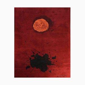 Red, Black & Orange Burst Artistic Rug after Adolph Gottlieb, 1970s