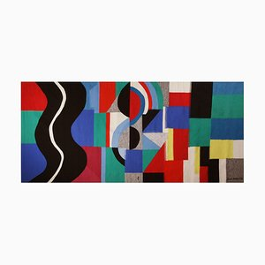 Modern Serpent Noir Monumental Tapestry by Sonia Delaunay, 1971