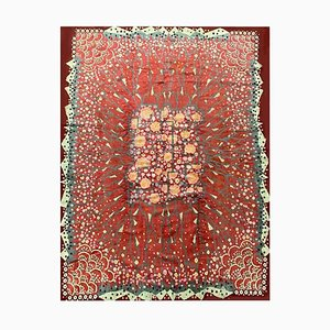 Art Deco Red Rug with Floral Decoration by Maurice Dufrene, 1920s