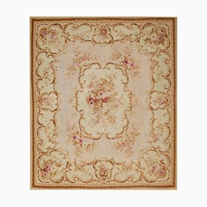 19th Century Hand Woven White Floral Aubusson Rug