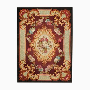 Mid-19th Century Hand Woven Aubusson Rug in Red with Flowers