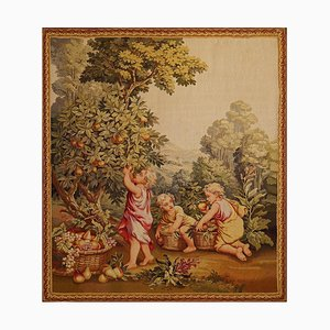 19th Century Tapestry Children in the Vineyard from Aubusson