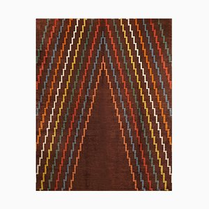 Brown Wool Aztec Geometric Rug, 1940s