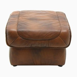 Large Leather Pouf, 1980s