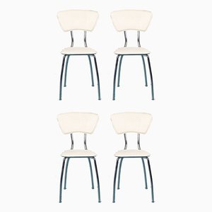 Vintage White Eco-Leather & Steel Dining Chairs, 1980s, Set of 4