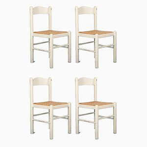 Vintage White Kitchen Dining Chairs, 1980s, Set of 4