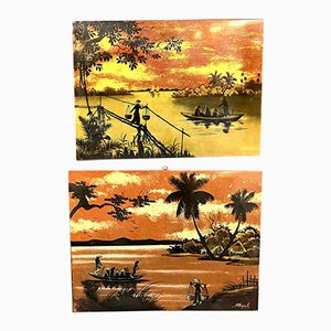 Chinese Lacquered Panels by M. Thanh, 1960s, Set of 2