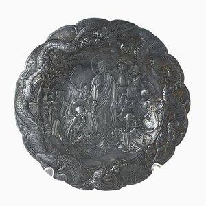 Asian Pewter Plate with Bodhisattva in the Garden