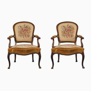 Geschwungene Vintage Sessel aus geschnitztem Holz, 1950er, 2er Set