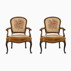 VIntage Floral & Carved Wood Lounge Chairs, 1950s, Set of 2