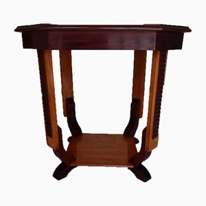Art Deco Square Walnut Coffee Table with Carvings