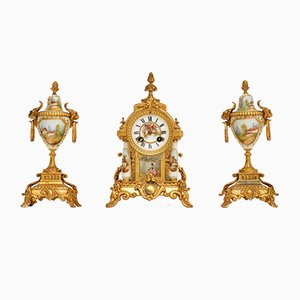 Antique French Porcelain & Gilt Mantel Clock Set, Set of 3