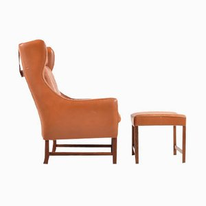 Vatne 965 High Lounge Chair with Footstool by Frederik Kayser for Vatne Møbler