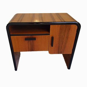 Art Deco Console Table with Black Edges & 2 Compartments, 1930s